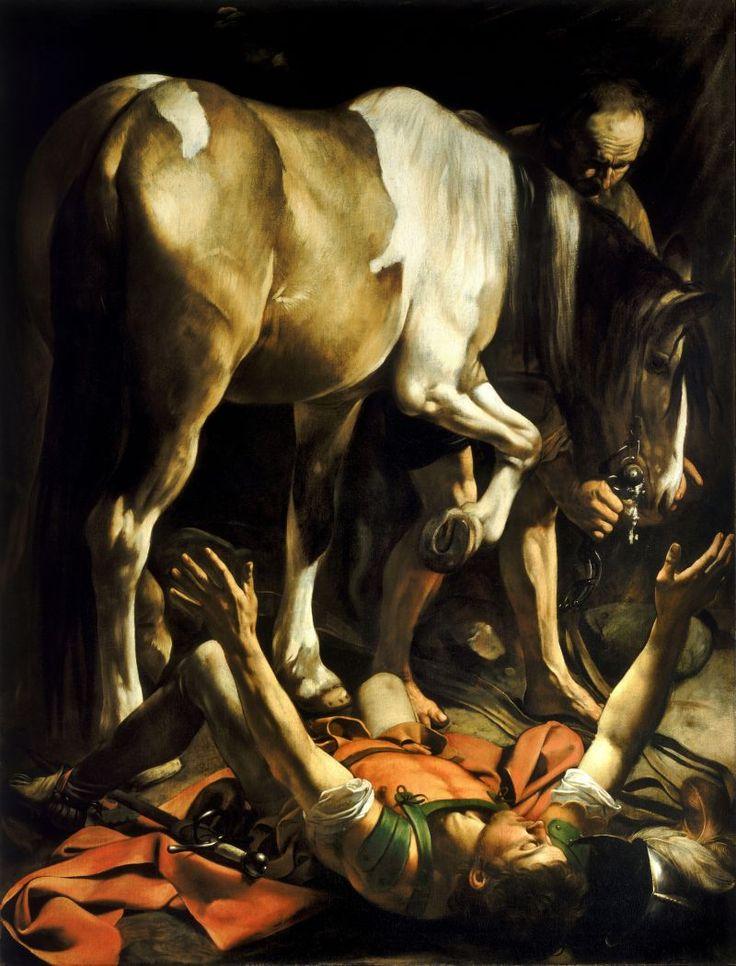 La conversión de San Pablo. Caravaggio (1575-1610). Etapa de madurez en Roma. Barroco inicial. Capilla Casi.                                                                                                                                                      Más
