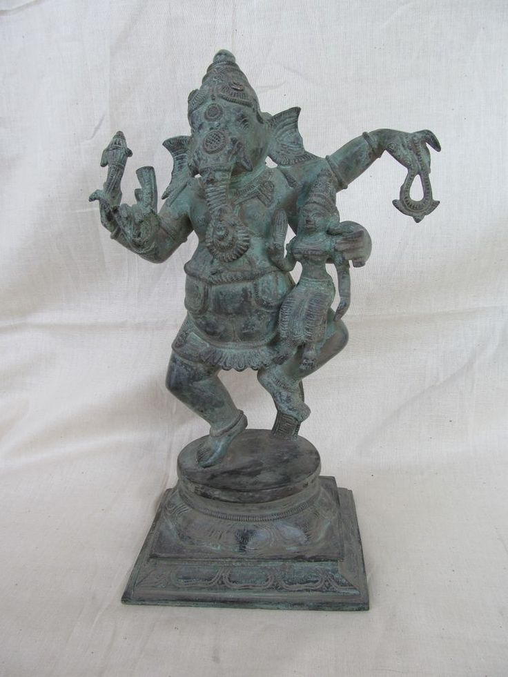 Vintage Look Brass Bronze Hindu Tribal Elephant God Ganesh Statue Figure 1258
