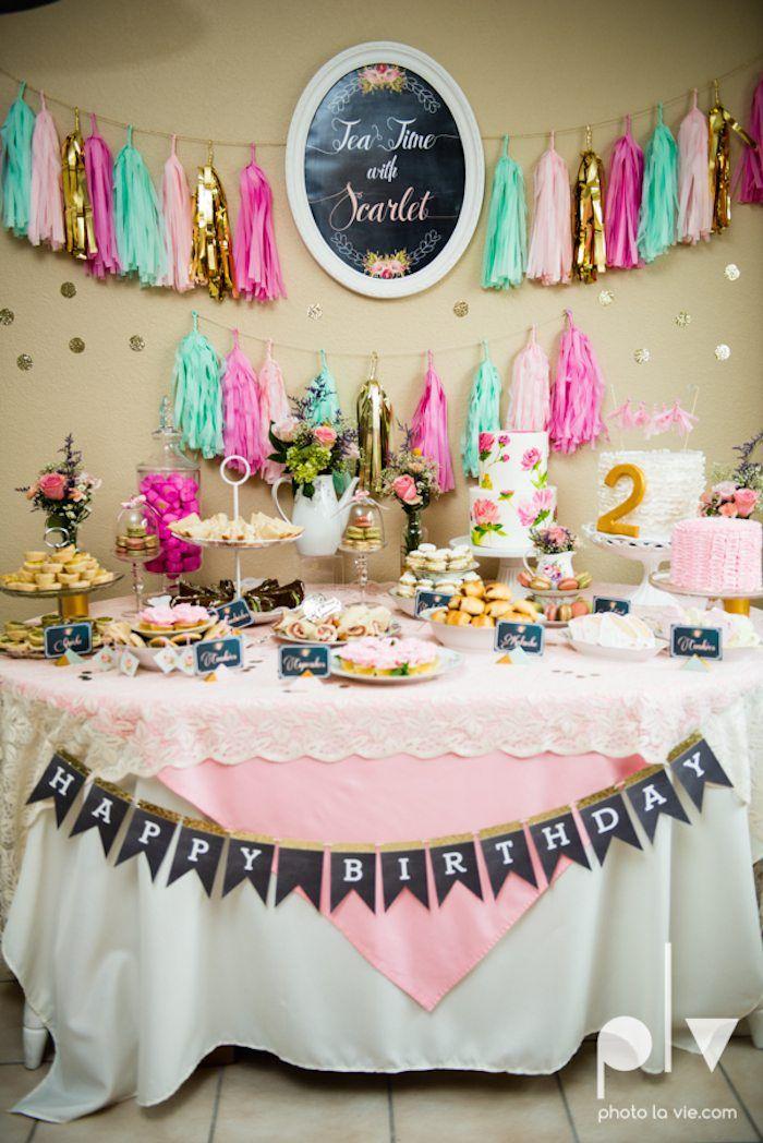 Tea Time Tea Birthday Party via KarasPartyIdeas.com #teaparty #floralteaparty #teapartyideas
