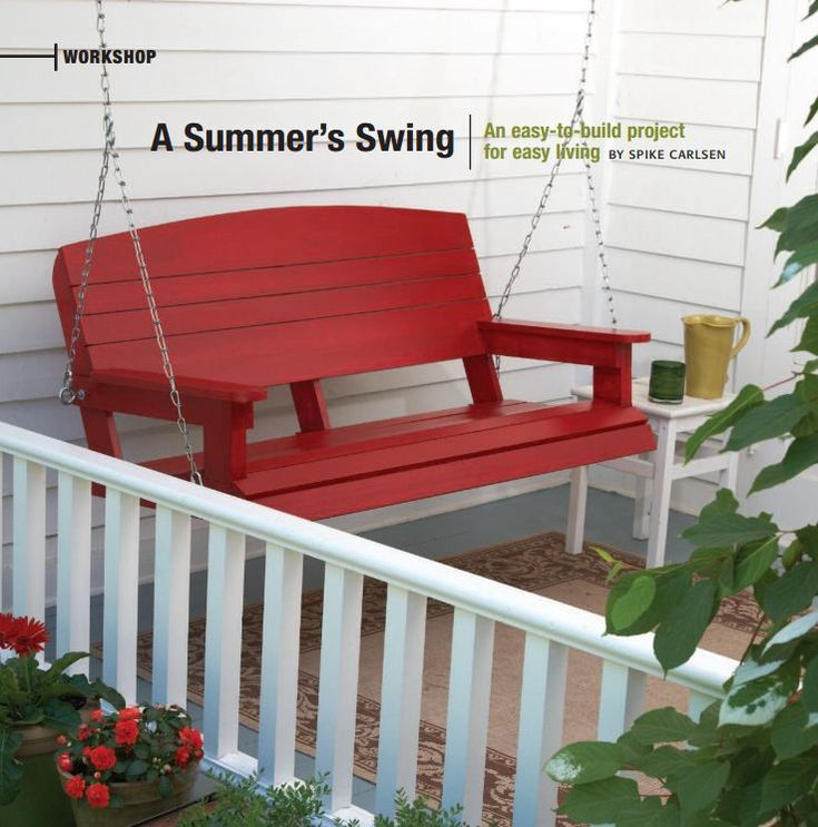 A red porch swing.