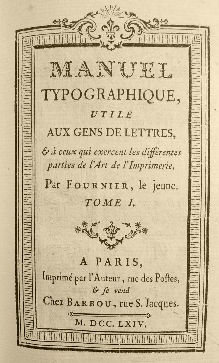 1764 Fournier Manuel Typographique