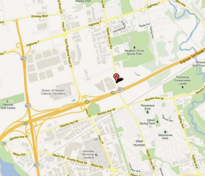 Map to Gracious Living's Outlet Store in Woodbridge, ON