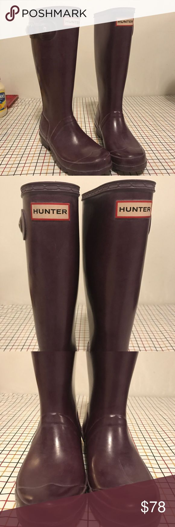 Purple Hunter Boots Size 5 In worn but good condition hunter rain boots  Girls size 5  PRICE IS PRETTY FIRM  They can easily be more cleaned.  Really in very good condition. Hunter Boots Shoes Rain & Snow Boots