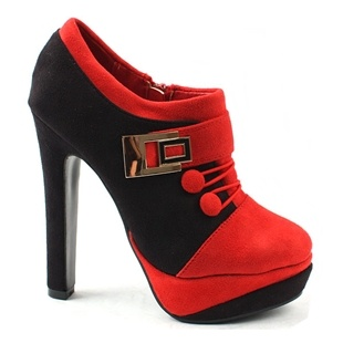 [SHOESONE.BIZ] 2170  Buckle Red Pointed Suede Black Booties (13.5cm)