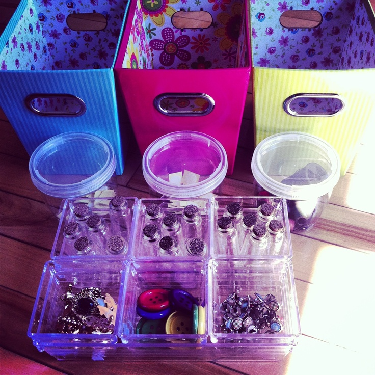 Organizing Some New Materials - Buttons, Brads, Little Bottles For Messages.