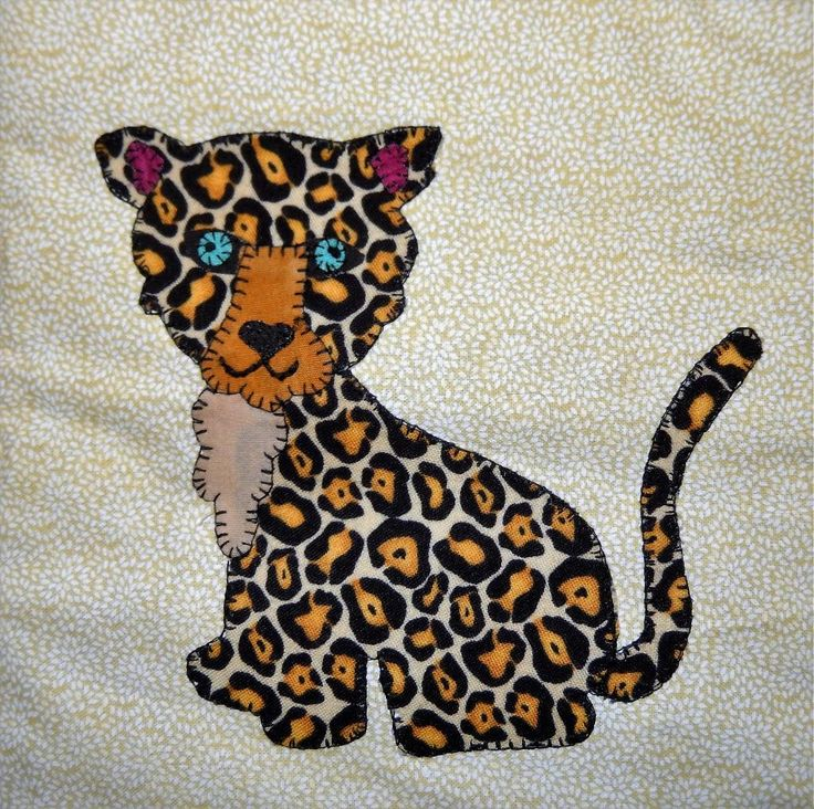 (7) Name: 'Quilting : Baby Cheetah Applique Block