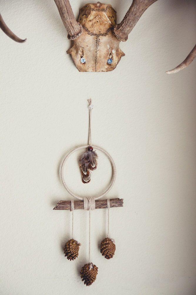 Bohemian Fall Dreamcatcher, Boho Pinecone Feather Hanging, Feather Wall Hanging, Fall Home Decor, Small Dreamcatcher, Car Dreamcatcher >> by DayCrafter on Etsy https://www.etsy.com/listing/460803356/bohemian-fall-dreamcatcher-boho-pinecone