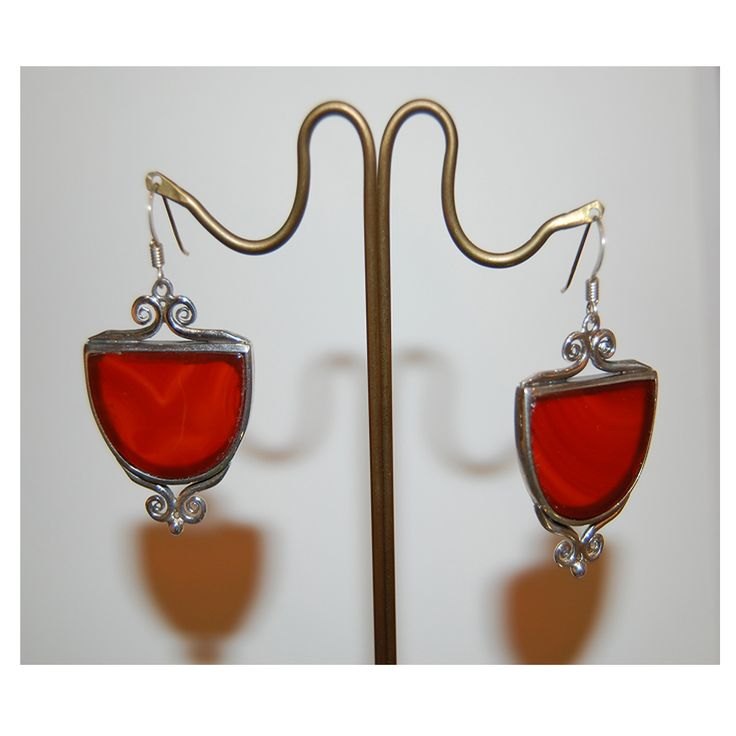 Carnelian earrings with sterling silver setting.  Entirely handmade in our workshop!