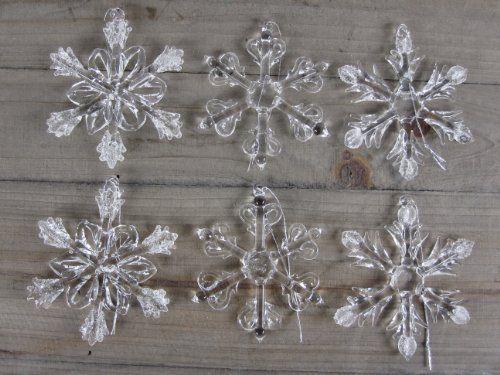 6 Schneeflocken aus Glas zum Hängen Christbaumschmuck