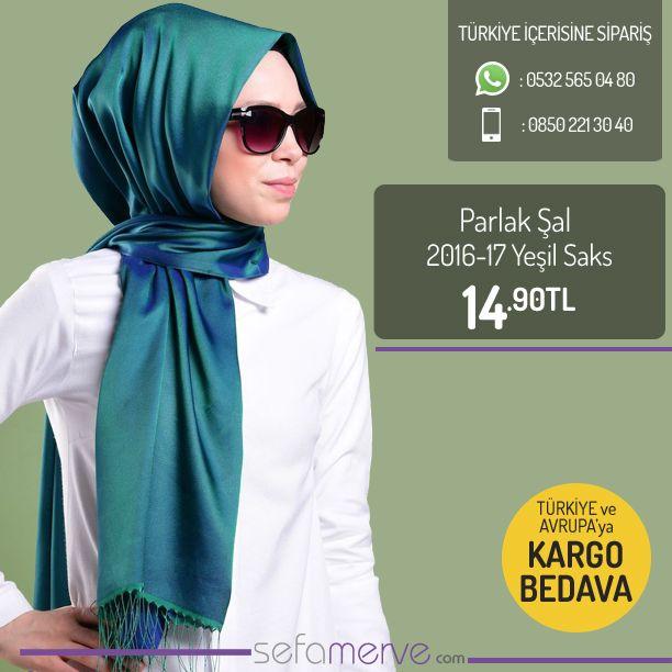 Yeni Ürün !! Parlak Şal 2016-17 Yeşil Saks  14,90 TL #sefamerve #tesetturgiyim #tesettur #hijab #tesettür
