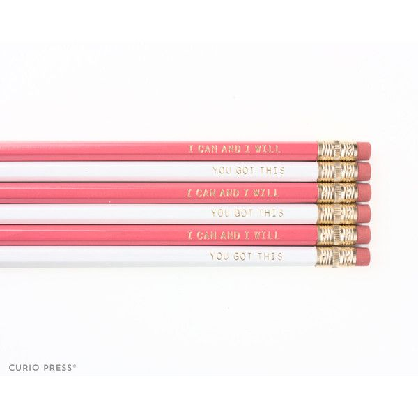 Cute Inspirational Pencil Set White Coral Pink and Gold Printed Pencil... (140 DOP) ❤ liked on Polyvore featuring home, home decor, home & living, light pink, office, office & school supplies, coral color home decor, inspirational home decor, gold home accessories and white eraser