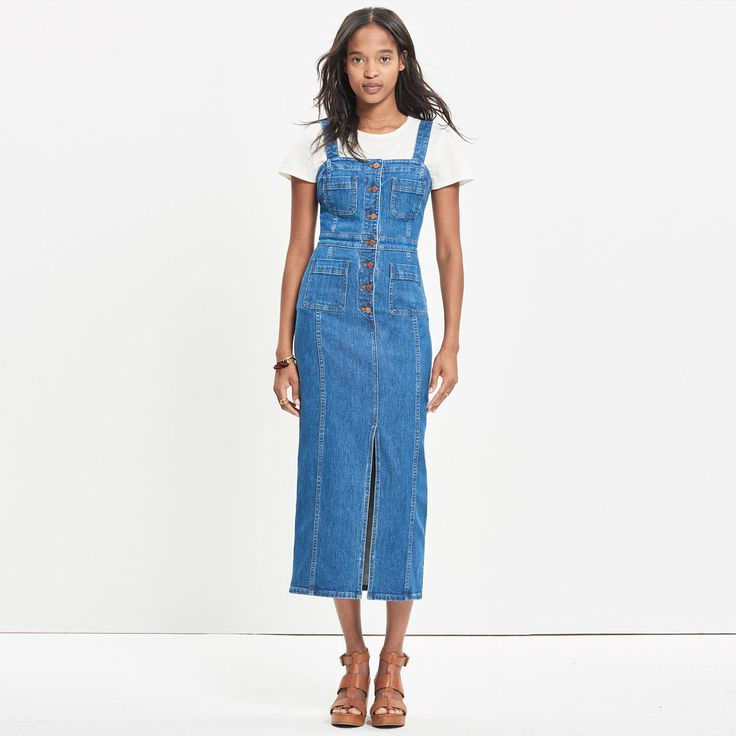 Denim Button-Front Midi Dress : even more denim | Madewell