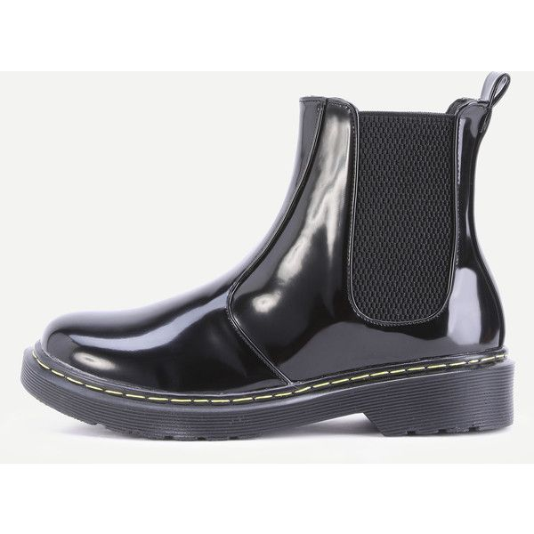 Black Patent Leather Round Toe Elastic Short Boots (16.140 HUF) ❤ liked on Polyvore featuring shoes, boots, ankle booties, black booties, short black boots, black bootie boots, short ankle boots and black winter boots