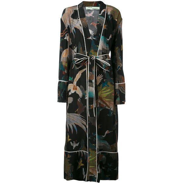 Off-White birds print pyjama robe ($2,033) ❤ liked on Polyvore featuring intimates, robes, black, silk robe, silk bathrobe, dressing gown, bath robes and silk bath robes