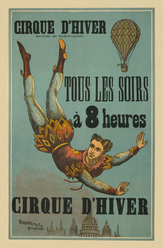 vintage circus poster - mirette on the high wire