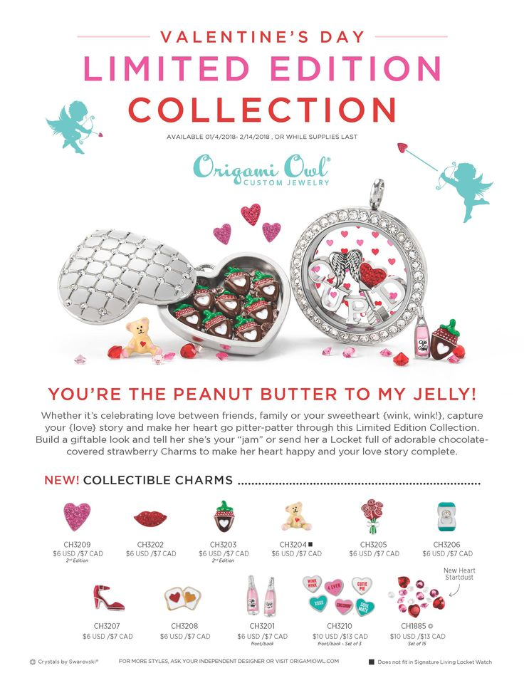 Origami Owl Custom Jewelry. Here's a quick overview of our Limited Edition Valentine's Day Collection! Which one is your JAM? Arriving 1/4/18: http://ltl.is/bylvs