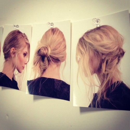 Hair how to at Rebecca Minkoff - loving all the messy buns at NYFW this year