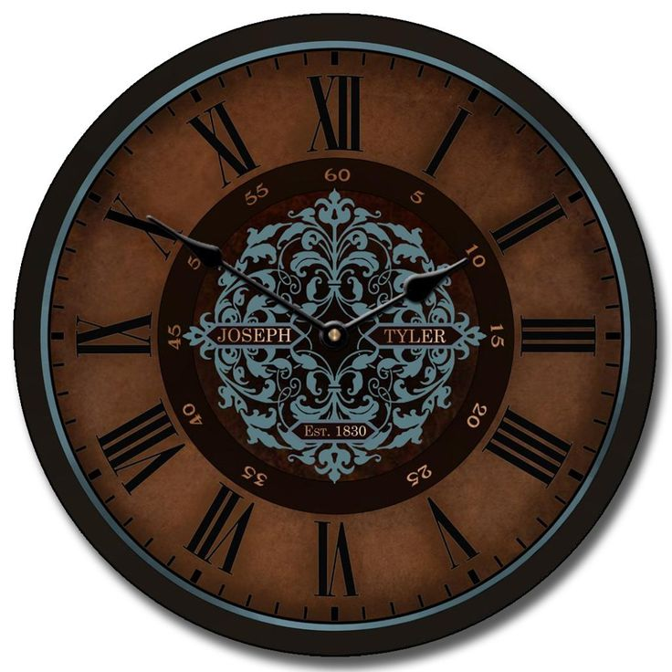 The beautiful brown shades of this decorative wall clock also has a teal/sage color with Roman numerals, you can use to style the walls of the house. http://www.clocksaroundtheworld.com/sagas-clock.html