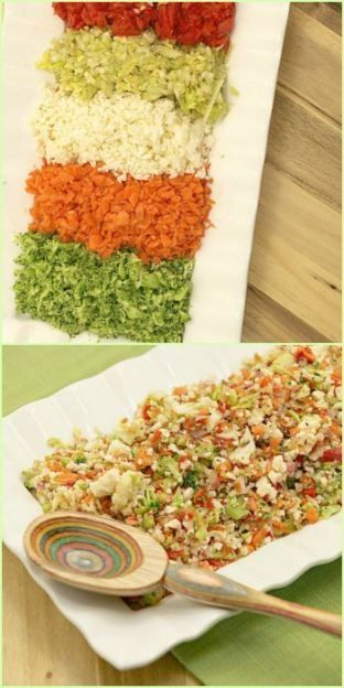 Most popular salad I've ever made! Chopped Vegetable Confetti Salad Low Calorie, Low Fat Healthy Salad