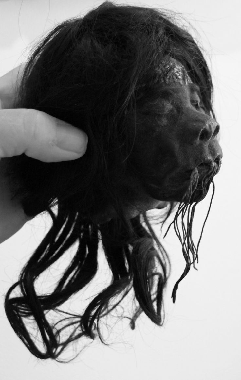 This is a real shrunken head for sale. SOLD! www.RealShrunkenHeads.com