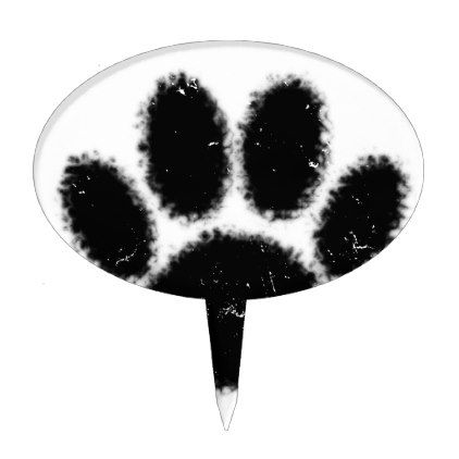 Rough And Distressed Dog Paw Print Cake Topper - drawing sketch design graphic draw personalize