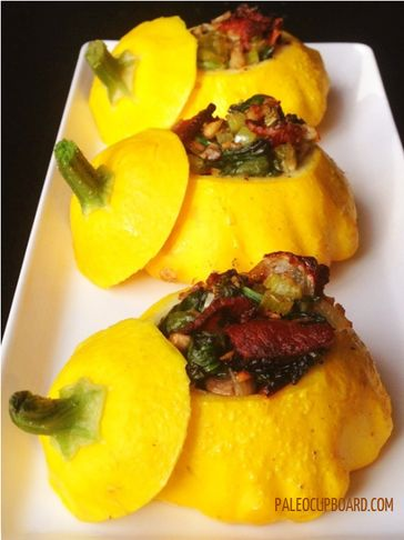 Stuffed Sunburst Squash (bacon, mushrooms, spinach, peppers...yum!)