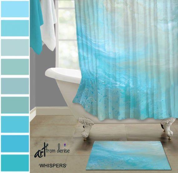 Teal Blue Fabric Shower Curtain Bath Rug Sets Aqua And Tan