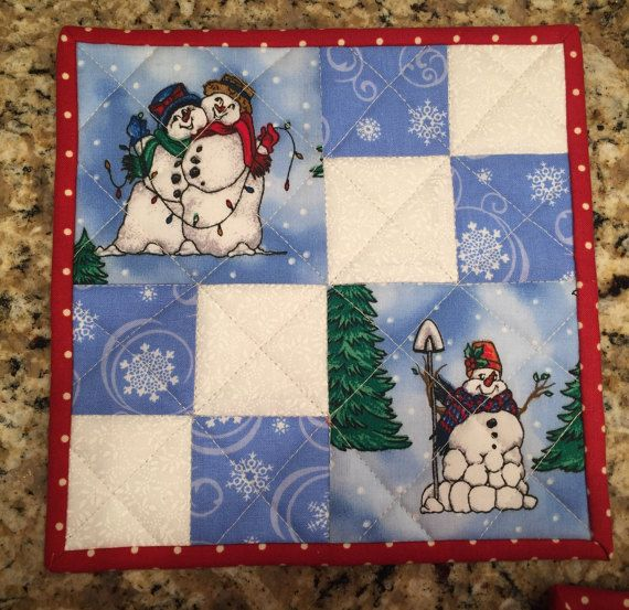 Quilted Potholders Snowmen pot holders blue and white