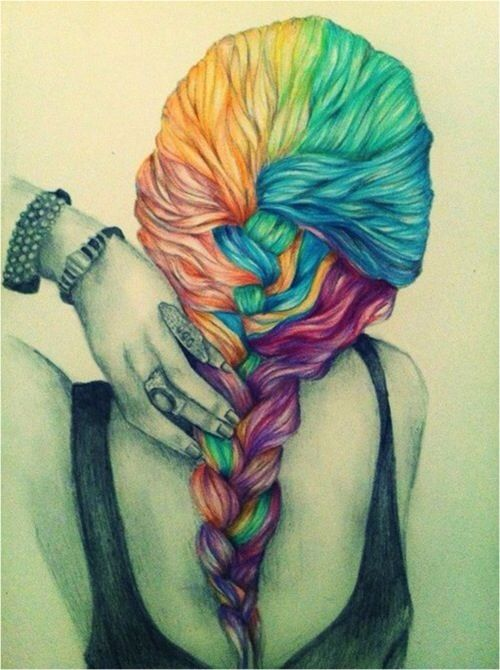 Colourful Hair Drawing | Crimp Plait And Pony It! | Pinterest | Colourful Hair Drawings And ...