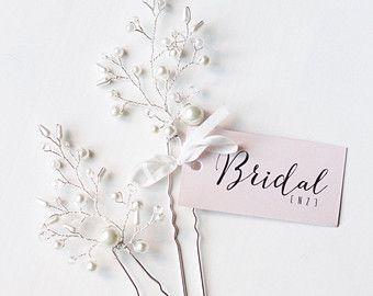 Свадебные заколки для прически невесты от EnzeBridal на Etsy