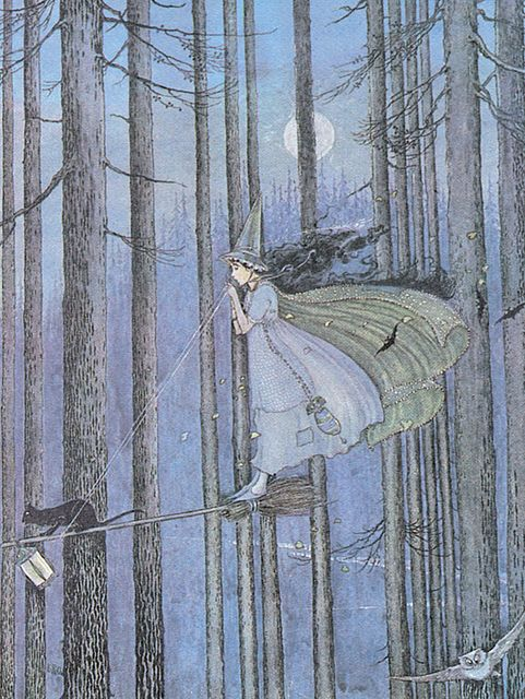 "This has to be one of the most clever interpretations of a witch on her broom I've ever seen! Ida Rentoul Outhwaite (1888 – 1960), ""The Witch on her Broomstick"" by sofi01, via Flickr"