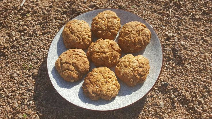 Gluten and refined sugar free ANZAC biscuits. Perfect lunchbox snack.