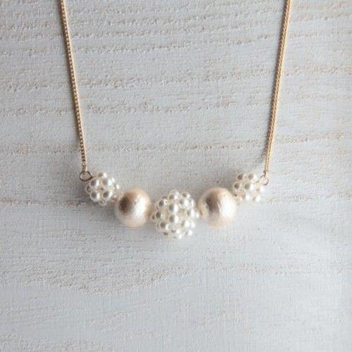 コットンパールのネックレス (white×cream)