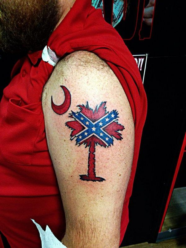 Rebel Flag Palmetto Tree on Shoulder - Cool Rebel Flag Tattoos, http://hative.com/30-cool-rebel-flag-tattoos/,
