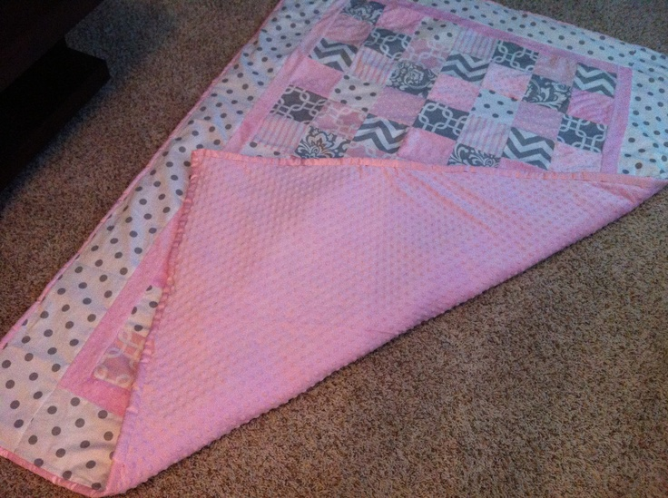 Baby Girl Quilt Pink Gray And White My Creations