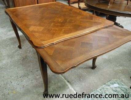 ANTIQUE FRENCH PARQUETRY HEAVY OAK EXTENSION DINING TABLE