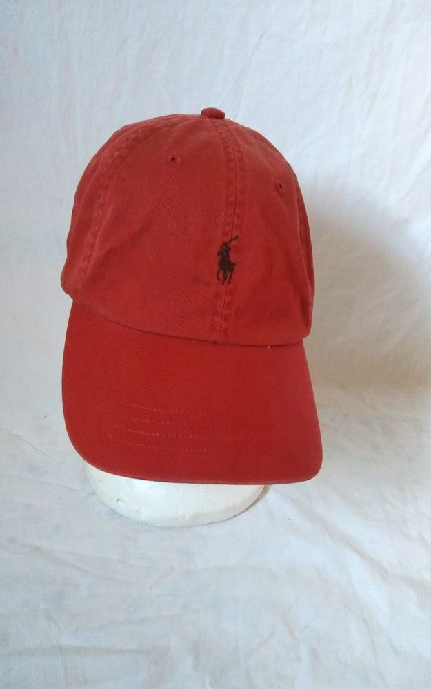 76c994123b0 Vintage Polo Ralph Lauren Red Chino Dad Hat with Leather Adjustable Strap   PoloRalphLauren  BaseballCap