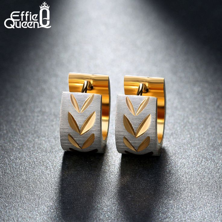 Effie Queen Punk Rock Stainless Steel Earrings For Women Men Leaves Groove Gold Plated Fashion Earrings Drop Ship IE13