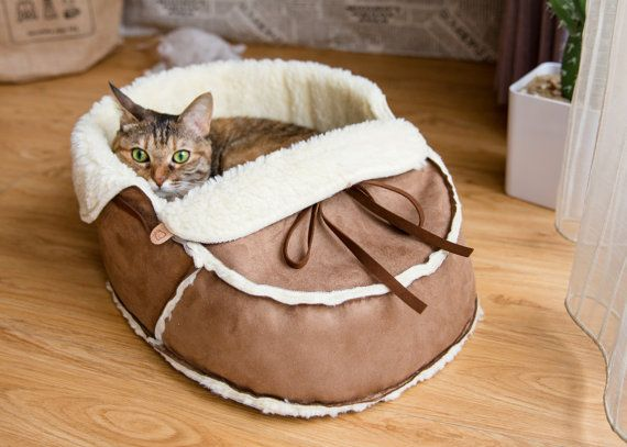 Sherpa Moccasin Cat Bed in Mocha Suede, great for kitten shower and puppy shower gift, also housewarming gift