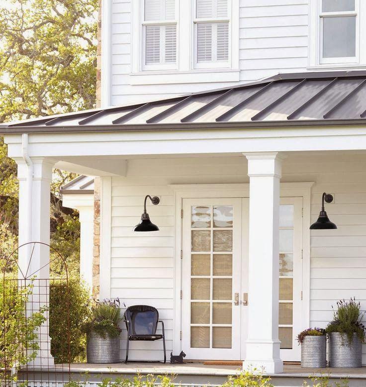 Modern Farmhouse Styleporch Metal Roof Side Lights Door Buckets W Plants