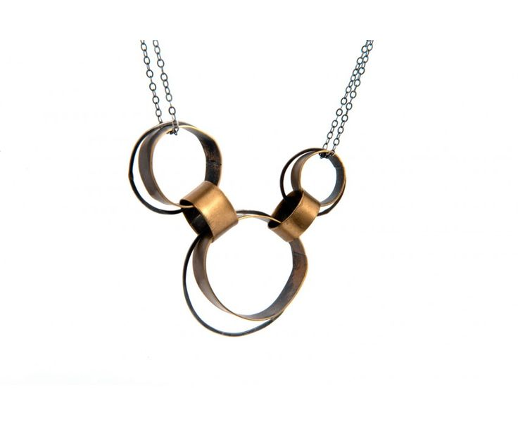 Three Brass and Silver Circles Necklace