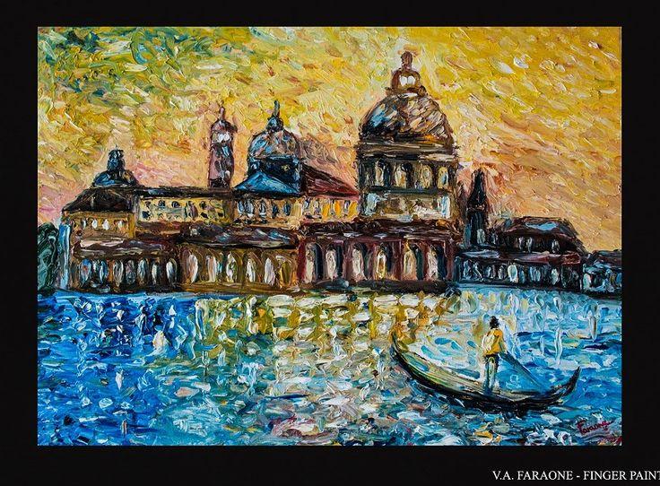 """""""VENICE"""" oil on canvas 50x70cm fingerpaint technique  www.faraonepainter.com"""