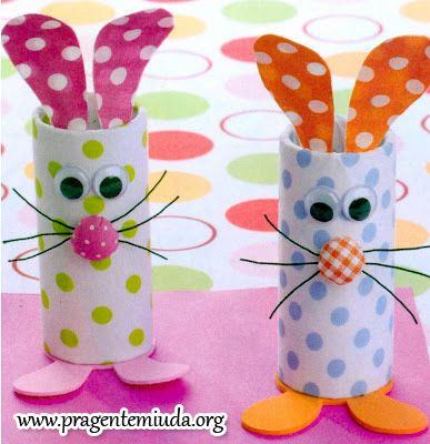 Toilet paper tube bunnies with colorful paper and buttons