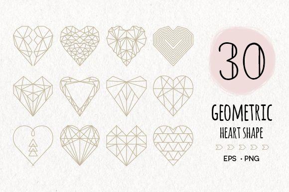 30 Geometric Heart Shapes Symbols by Pixejoo on @creativemarket