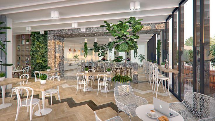 Interior 3d render, cafe,
