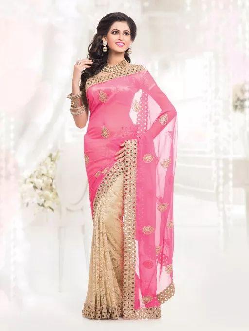 Pink and Cream Chiffon Saree with Butta Work