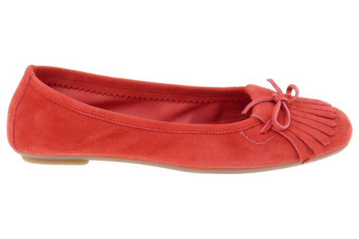 Ballerines Reqins pour femme. Modèle Hindi couleur rose corail. Ballerines mode avec franges en cuir, collection Reqins 2014.