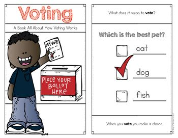 Voting Emergent Reader for Kindergarten and First Grade Social Studies. Simple for young students to understand. Questions and a glossary too. Finding text evidence! $