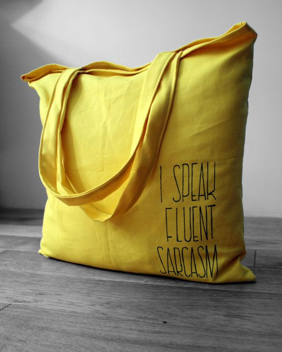 Yellow tote bag big shopping bag wth pocket by KropkaDesign