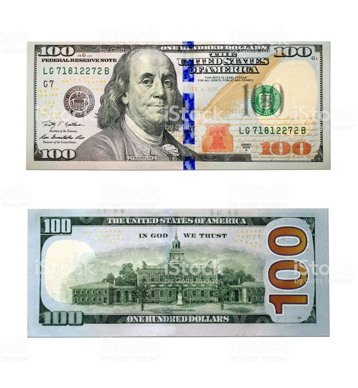 new hundred dollar bank notes isolated on the white background. right…